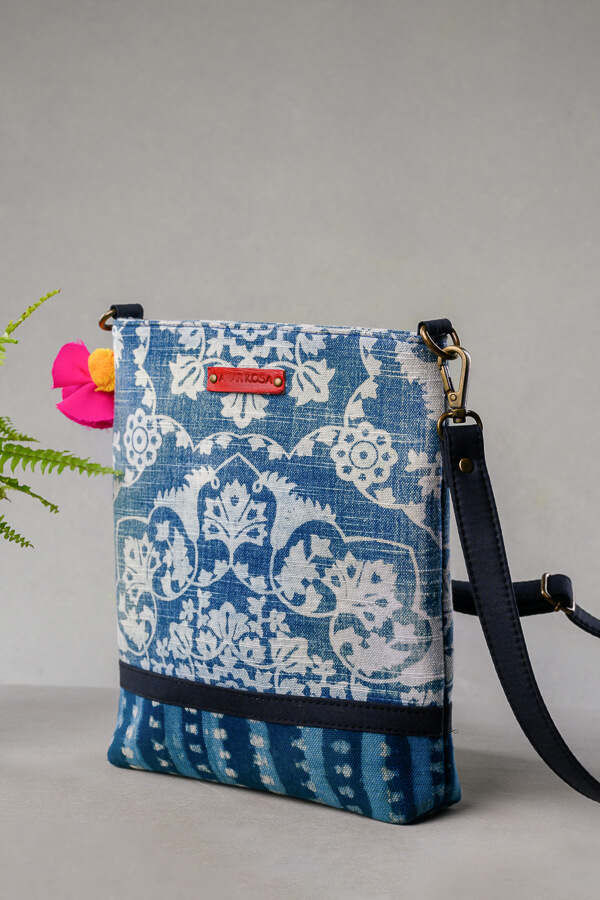 AMAR-KOSA-Accessories-Work-Bags-Indigo-Small-Sling-Bag-Print-Made-In-India