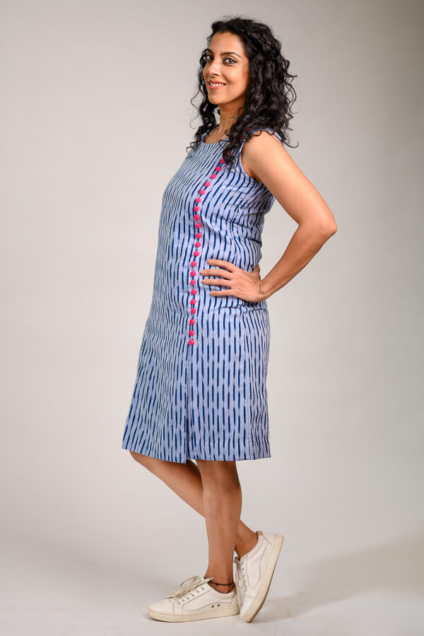 AMAR-KOSA-Button-Me-Up-Ikat-Dress-Light-Blue-Cotton-Handloom