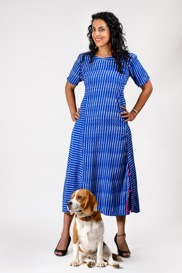 AMAR-KOSA-Electric-blue-Ikat-Dress
