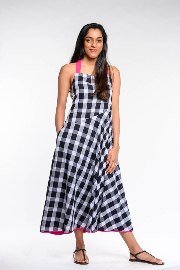 AMAR-KOSA-Checkered-Dress-Handcrafted-Vegan-Sustainable