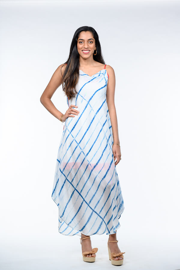 AMAR-KOSA-Cowl-Neck-Shibori-Dress